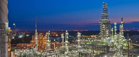 detroit refinery at night