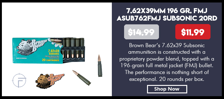 Brown Bear 7.62x39 Subsonic Ammunition Box 20 Rounds