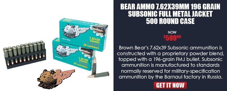 Brown Bear 7.62x39 196-Grain Subsonic Ammunition, 500-Round Case