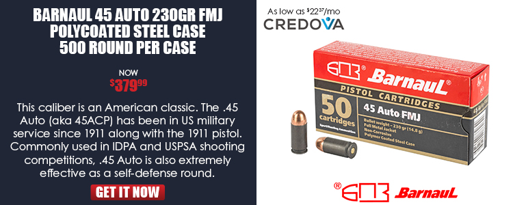 BARNAUL-45 Auto 230gr FMJ polycoated steel case-500 round per case