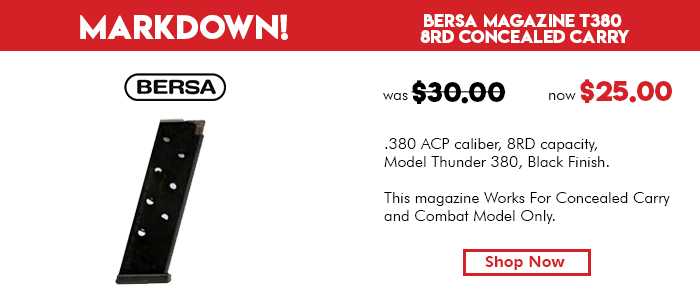 Bersa Magazine T380 Concealed Carry w/flat bottom 8 Rounds Black