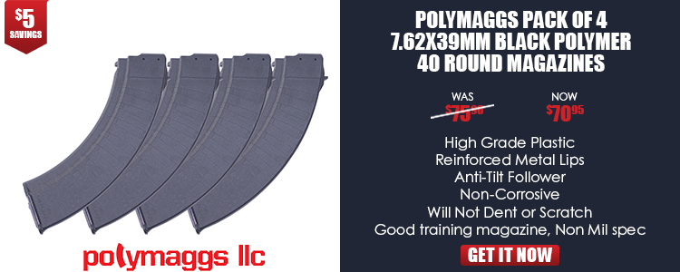 Polymaggs Pack of 4 7.62x39mm Black Polymer 40 Round Magazines