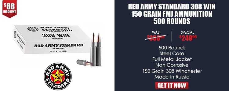 Red Army .308 WIN 150GR FMJ Steel Case 500RD Case