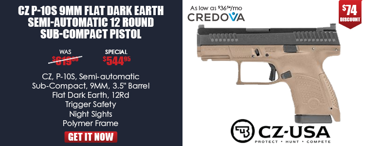 CZ P-10S FDE, 9mm, 12rd, FDE, Nitride Slide, Fixed Night Sights, 3 back straps, reversible mag catch