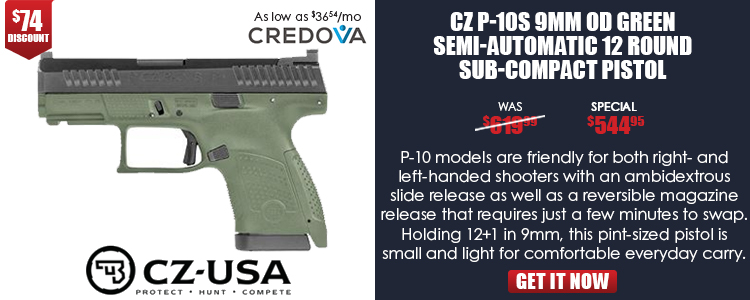 CZ P-10 S OD GREEN, 9MM, 12RD, POLYMER, FIXED NIGHT SIGHTS, INTERCHANGEABLE BACK STRAPS