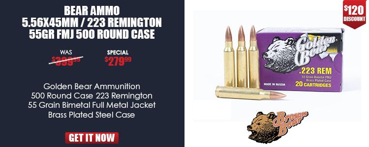GOLDEN BEAR .223 REMINGTON 55GR. FMJ 500rd Case