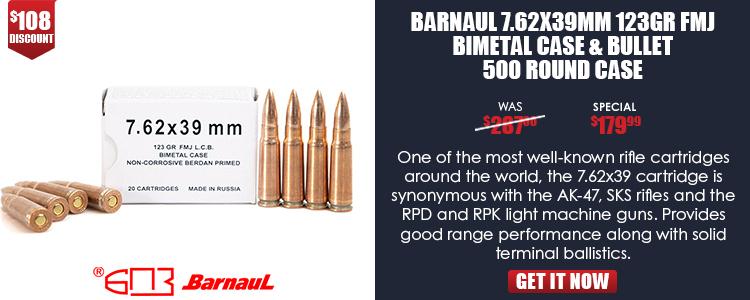 BARNAUL 7.62X39 123GR FMJ BIMETAL CASE & BULLET 500RD CS