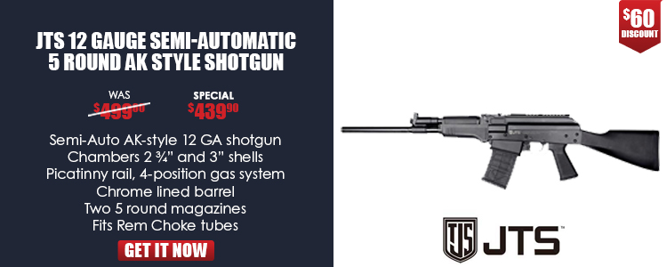 Semi-Auto AK-style 12 GA shotgun, chambers 2.75-in and 3-in shells, Picatinny rail, 4-position gas system,