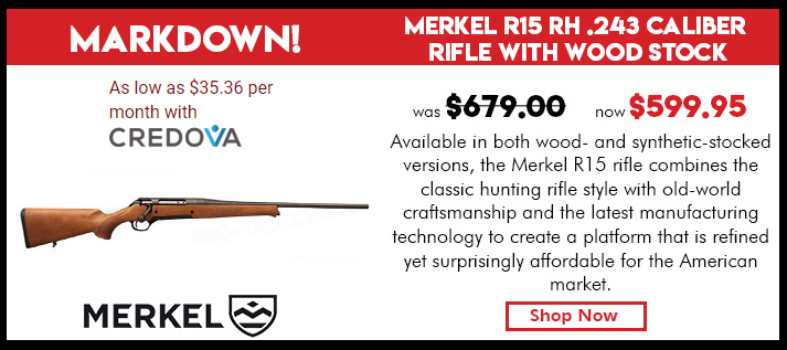 Merkel R15 RH .243 Caliber Rifle with Wood Stock