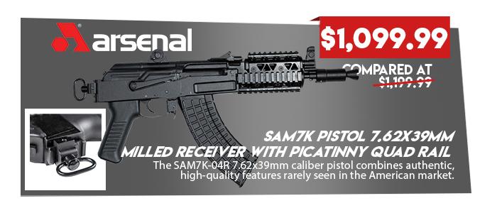 SAM7K Pistol 7.62x39mm Milled Receiver with Picatinny Quad Rail
