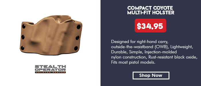 Stealth Operator Holster Compact Coyote Multi-Fit Holster RH