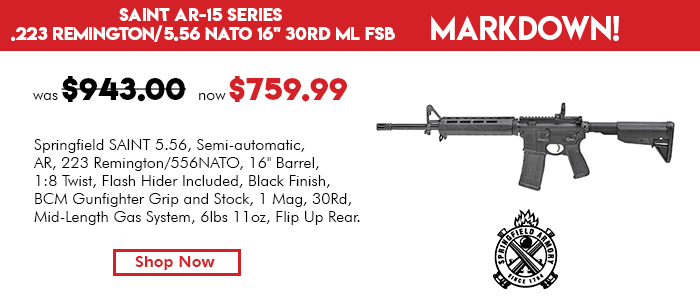 Springfield Armory Saint AR-15 Series .223 Remington/5.56 NATO 16in 30RD ML FSB
