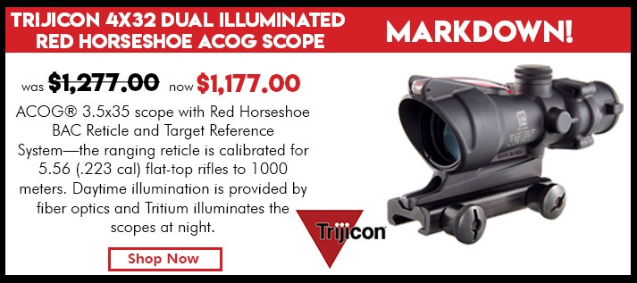 Trijicon 4x32 Dual Illuminated Red Horseshoe / 223 Dot Reticle ACOG Scope with TA51 Mount
