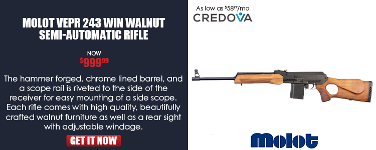 Vepr .243 Win, 20.5-in barrel, wood thumbhole stock, two 7-rd magazines
