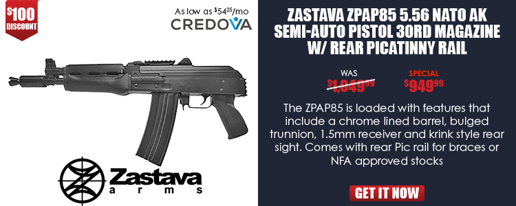 Zastava ZPAP85 5.56 NATO AK Pistol w/ Rear Picatinny Rail