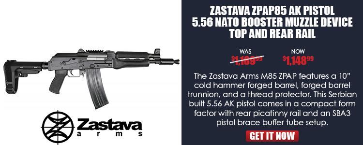 Zastava ZPAP85 AK Pistol 5.56 NATO Booster Muzzle Device Top and Rear Rail