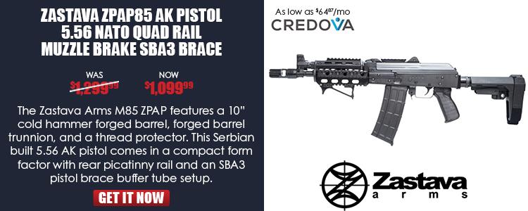 Zastava ZPAP85 AK Pistol 5.56 NATO Quad Rail Muzzle Brake SBA3 Brace