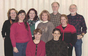 Original members of the 'WSU Vegetable Pathology Team' initiated in 2001, which expanded into the tri-state 'PNW Vegetable Extension Group'. Back row (l-r): Debra Inglis, Carol Miles, Ellen Bentley, Dyvon Havens, Erik Sorensen, Babette Gundersen, and Gary Pelter. Front row (l-r): Jenny Glass and Lindsey du Toit.
