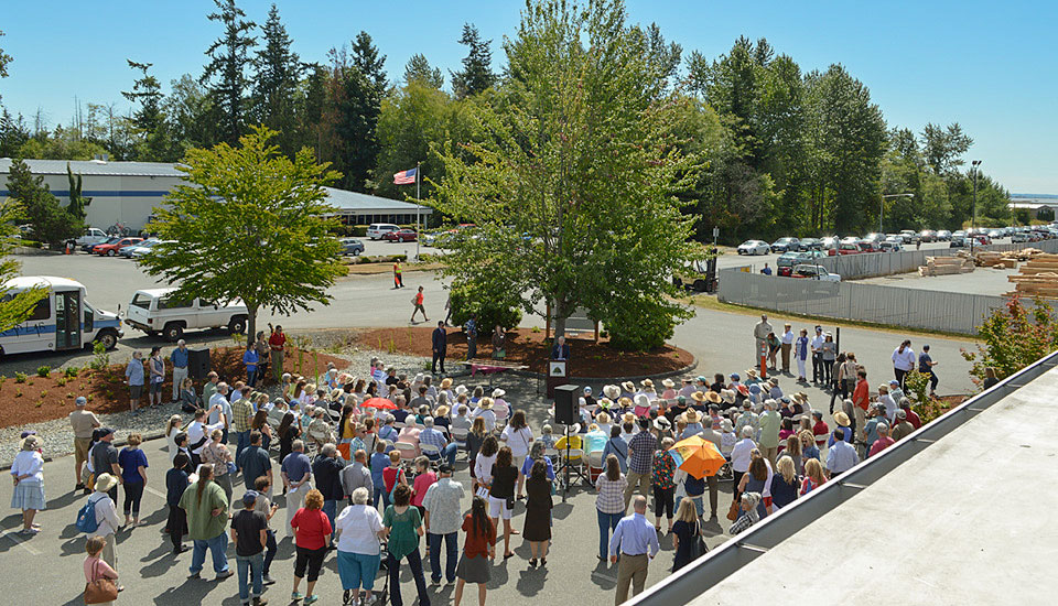 Participants attend the grand opening of the new WSU Bread Lab at the Port of Skagit (July 26, 2017).