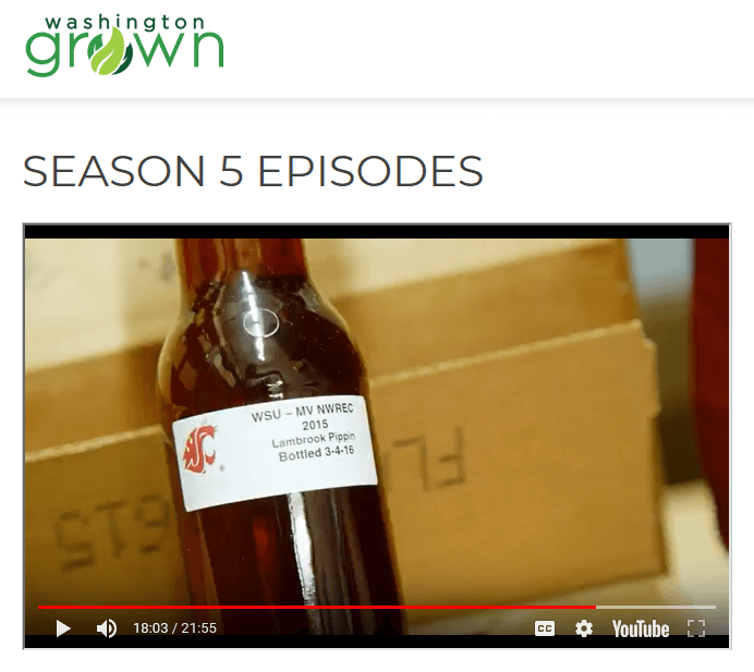 Screen capture from www.wagrown.com showing video footage from episode featuring the WSU Mount Vernon Cider Program.