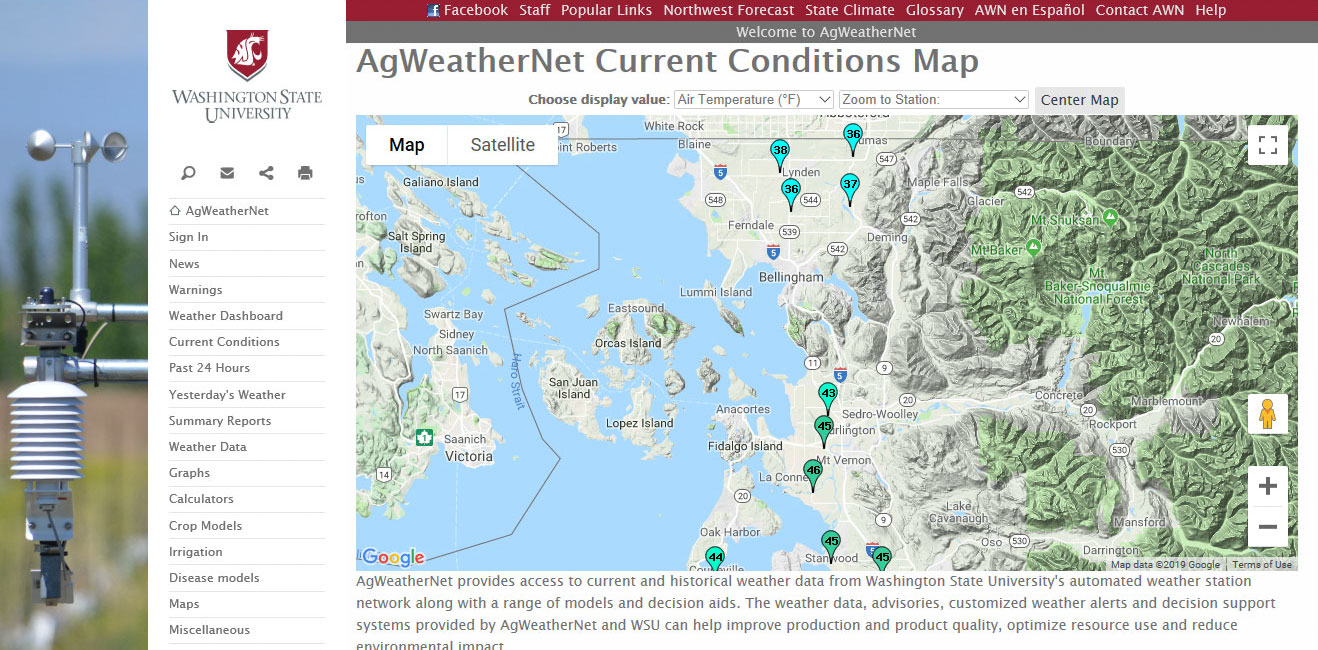 Screenshot of AgWeatherNet.