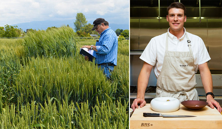 (Left) Steve Lyon reads from a notebook in a wheat field. (Right) Neils Brisbane stands in front of a cutting board in the kitchen.