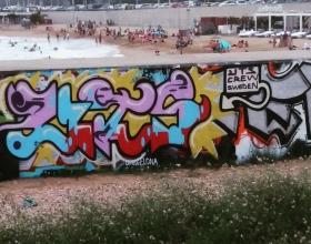Wallspot - Sirgraffalot - Forum beach - Sirgraffalot - Barcelona - Forum beach - Graffity - Legal Walls - Letters, Illustration