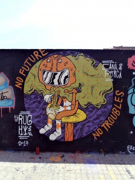 Wallspot - El Rughi - No Future, No Troubles. - Barcelona - Poble Nou - Graffity - Legal Walls - Illustration