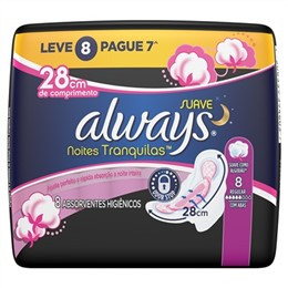 Absorvente Always Noites Tranquilas Suave c/ Abas - 8 Un.