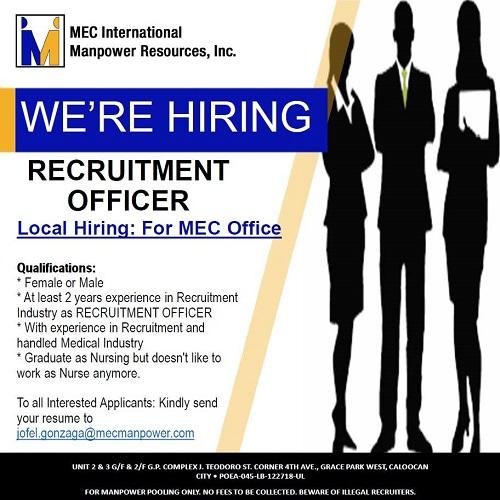 [MEC Internal Hiring] Recruitment Officers
