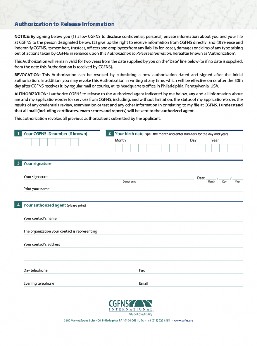 CGFNS Authorization to Release Information form