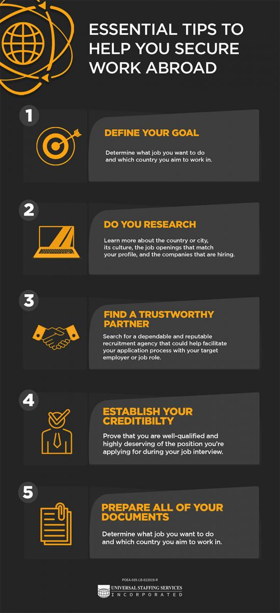Essential tips to help you secure work abroad inforgraphic