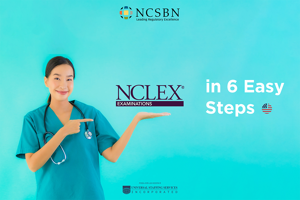Smiling nurse pointing at NCLEX logo