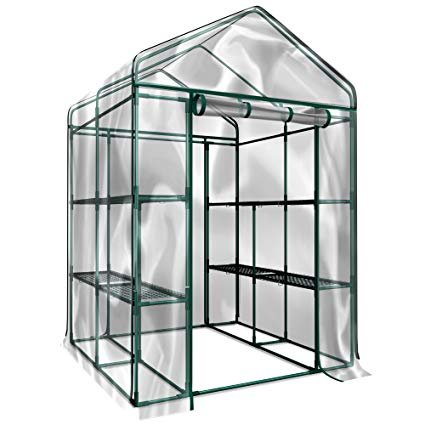 "HC-4202 Walk-in Greenhouse-Indoor Outdoor with 12 Sturdy Shelves (L)56.3""x (W)56.3""x (H)76.7"""