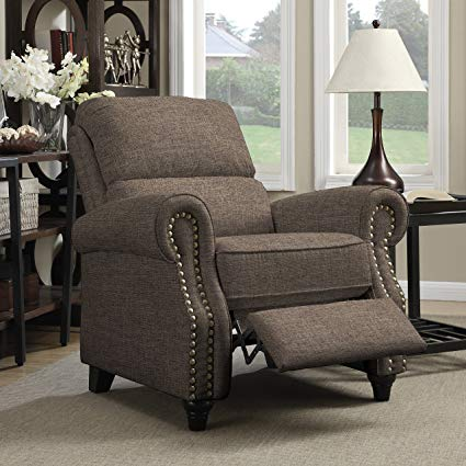Katreenstore RCL12-LIN87 Transitional Upholstery Push Back Round Arm Polyester Recliner Nail Heads & Wood Legs Chair  Brown Linen