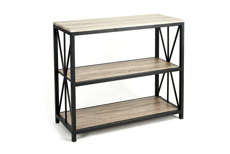 Metal Frame 3-tier Console Table  bookshelf