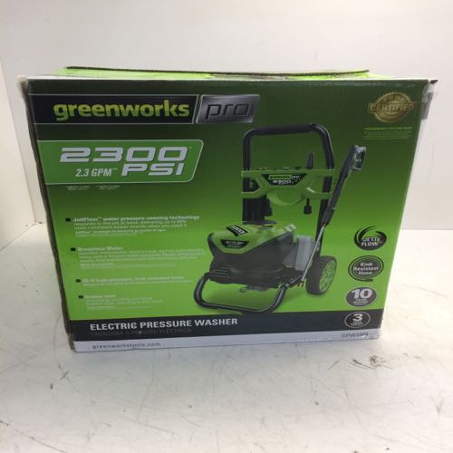 Greenworks 2300 Greenworks Pro 2300-PSI Cold Water Electric Pressure Washer JettFlow Technology Green