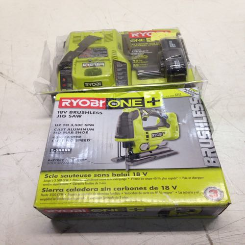 Ryobi Lithium Ion Battery And Charger Kit And 18v Brushless Jig Saw