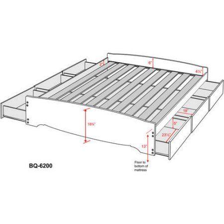 Prepac BBQ-6200-3B Platform Storage Bed With 6 Drawers  Size King Black