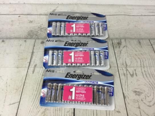 Energizer Ultimate Lithium AA Batteries, 3-12 Packs 12/2037