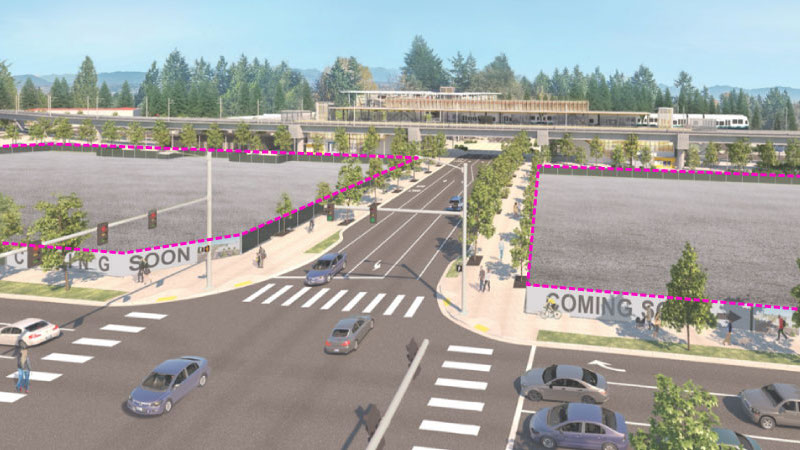 This image shows a rendering that highlights two transit-oriented development sites located near the future Kent/Des Moines station area.
