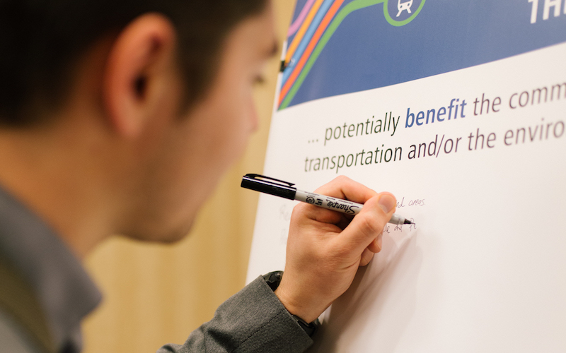 This image shows a community member sharing feedback for a Sound Transit project.