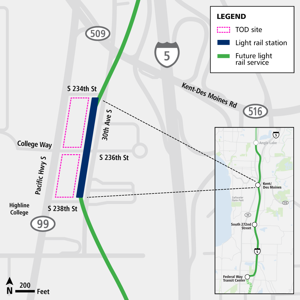 This image shows a map of the transit oriented development site, light rail station, and future light rail alignment at the kent/des moines station.