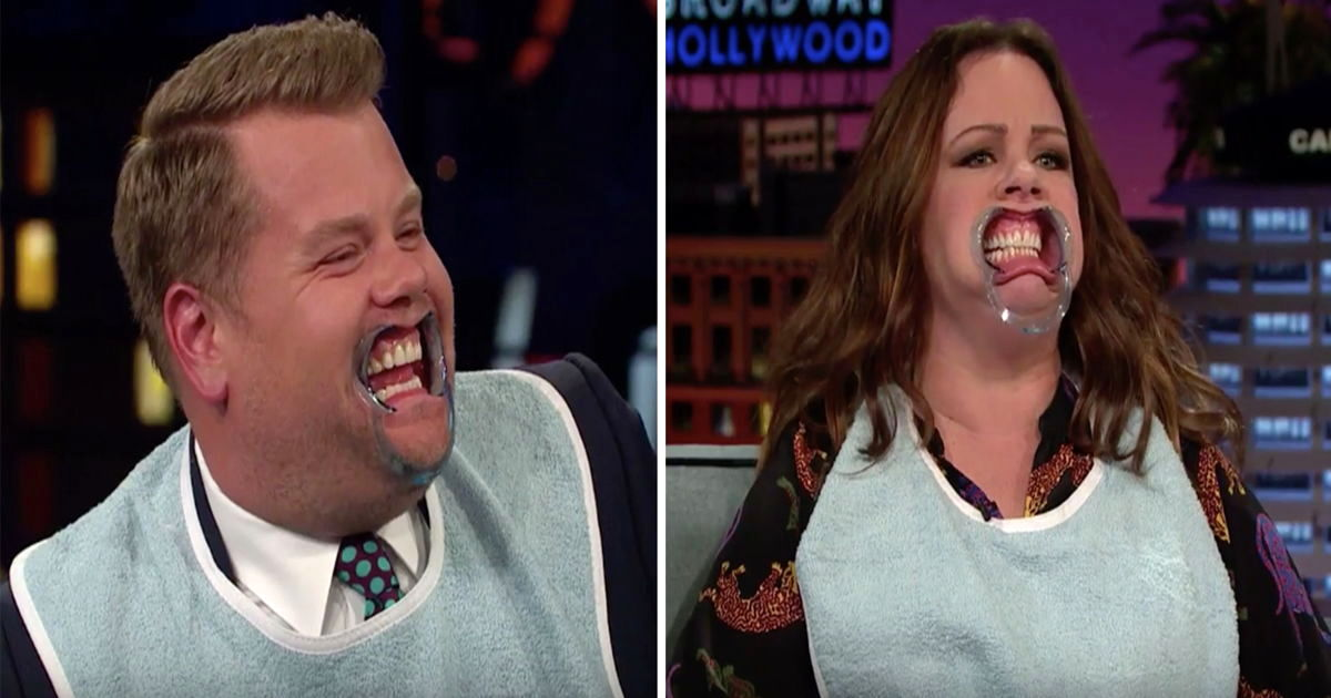 """James, Melissa McCarthy and Kristen Schaal attempt part of their chat wearing mouthguards used in """"The Boss"""" and learn why life is easier with functional lips."""