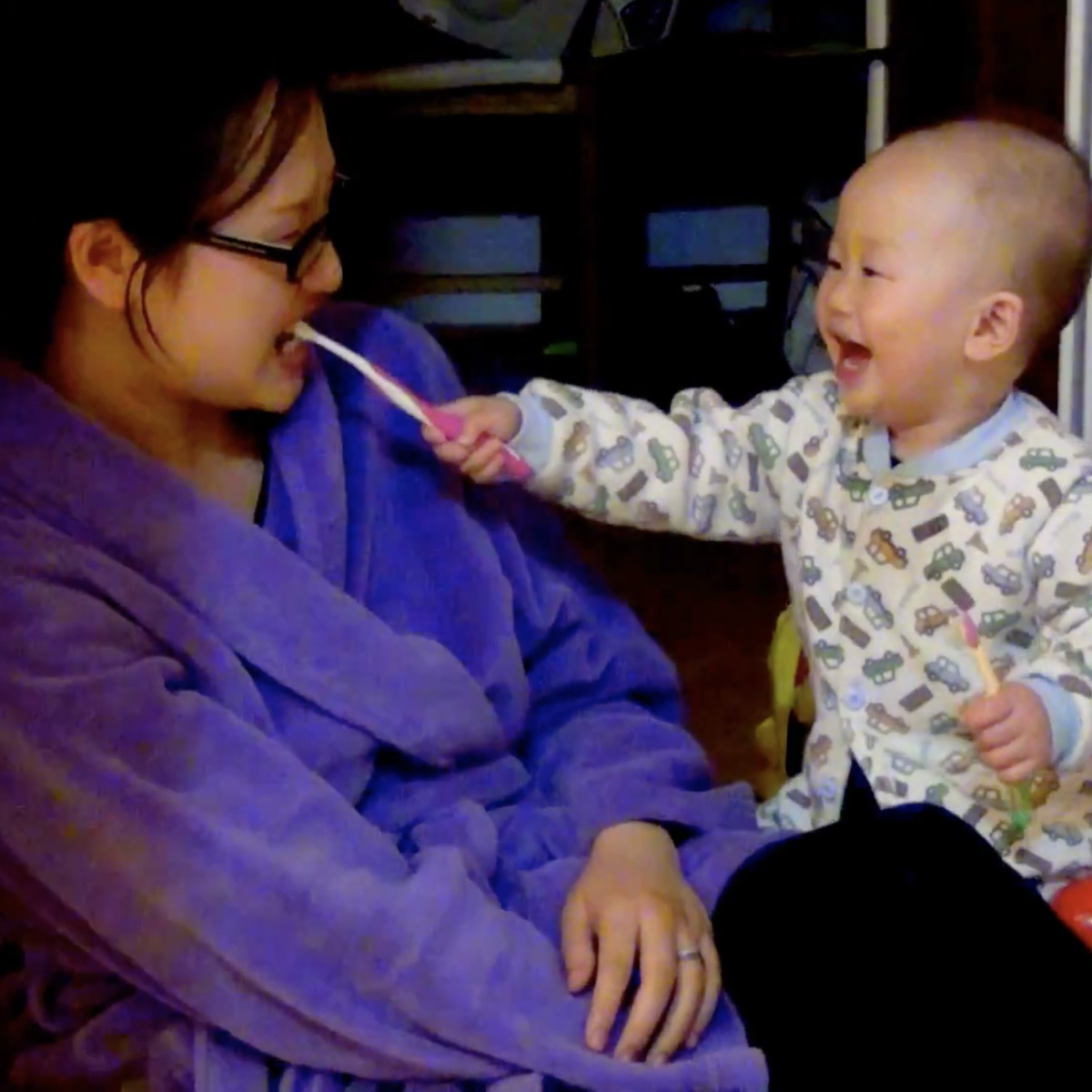 ORAL HYGIENE IS MORE FUN when you've got someone to brush with!