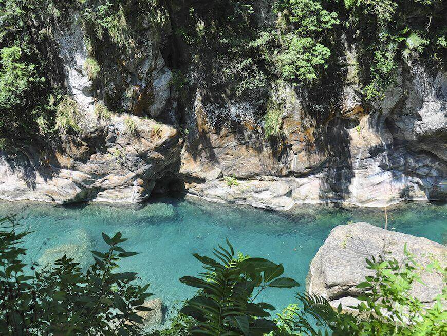 Deep Blue River And Green Foliage in Taroko National Park