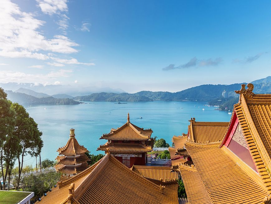 Sun Moon Lake View over Temple Rooftops