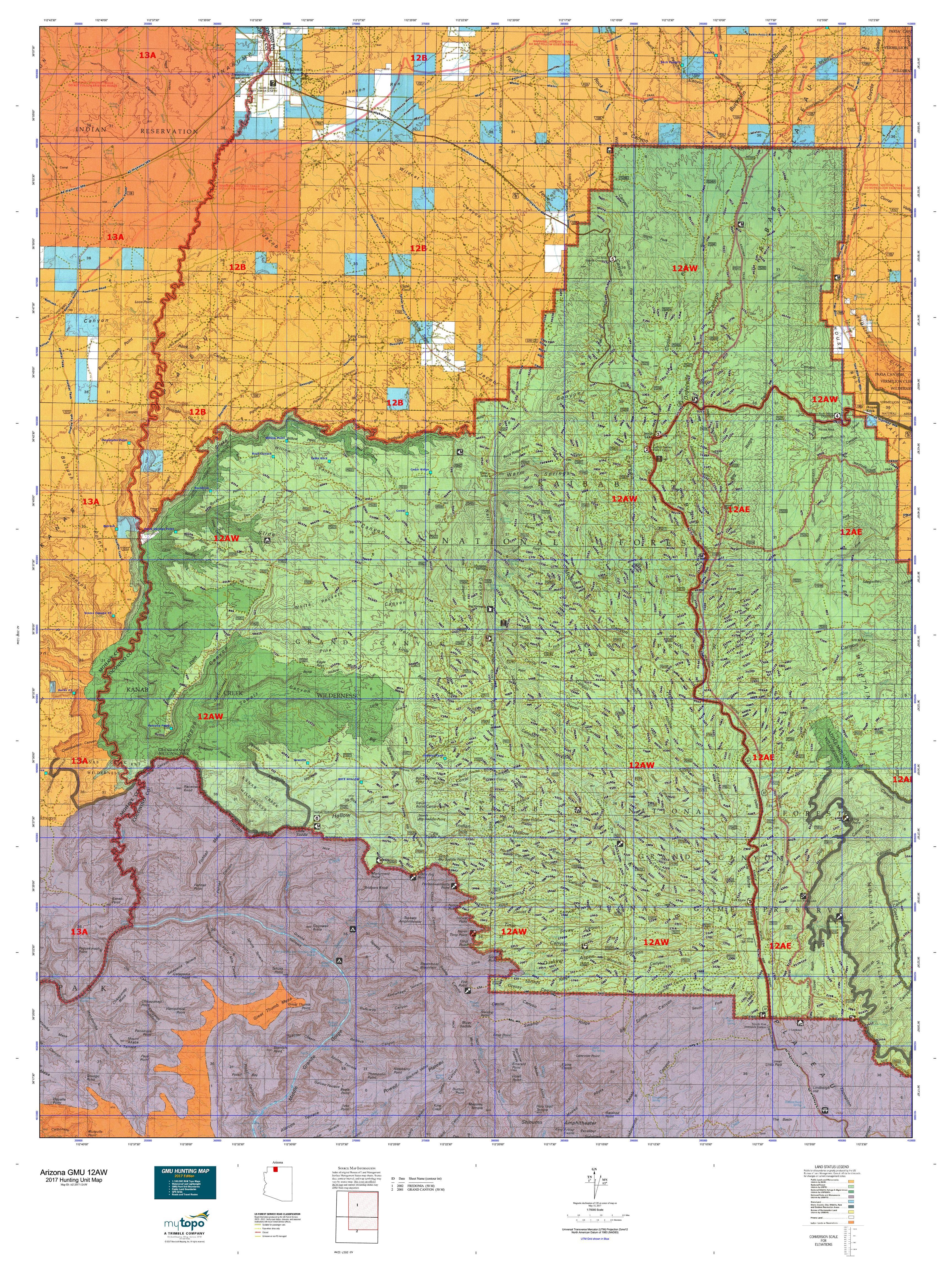 Arizona GMU AW Map MyTopo - Map of arizona