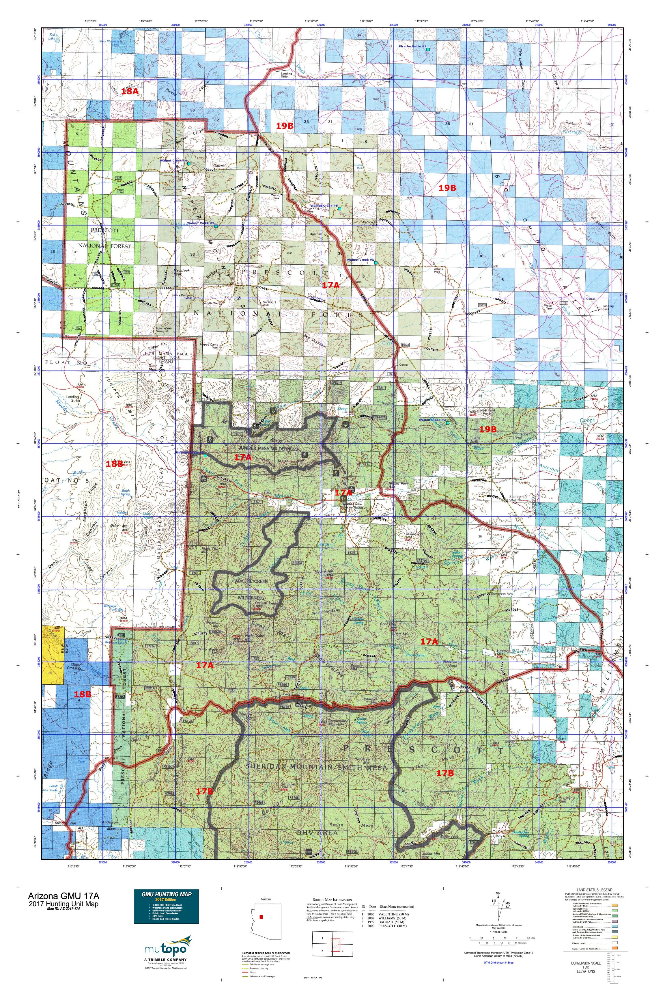 Arizona gmu 17a map mytopo for Arizona game and fish locations