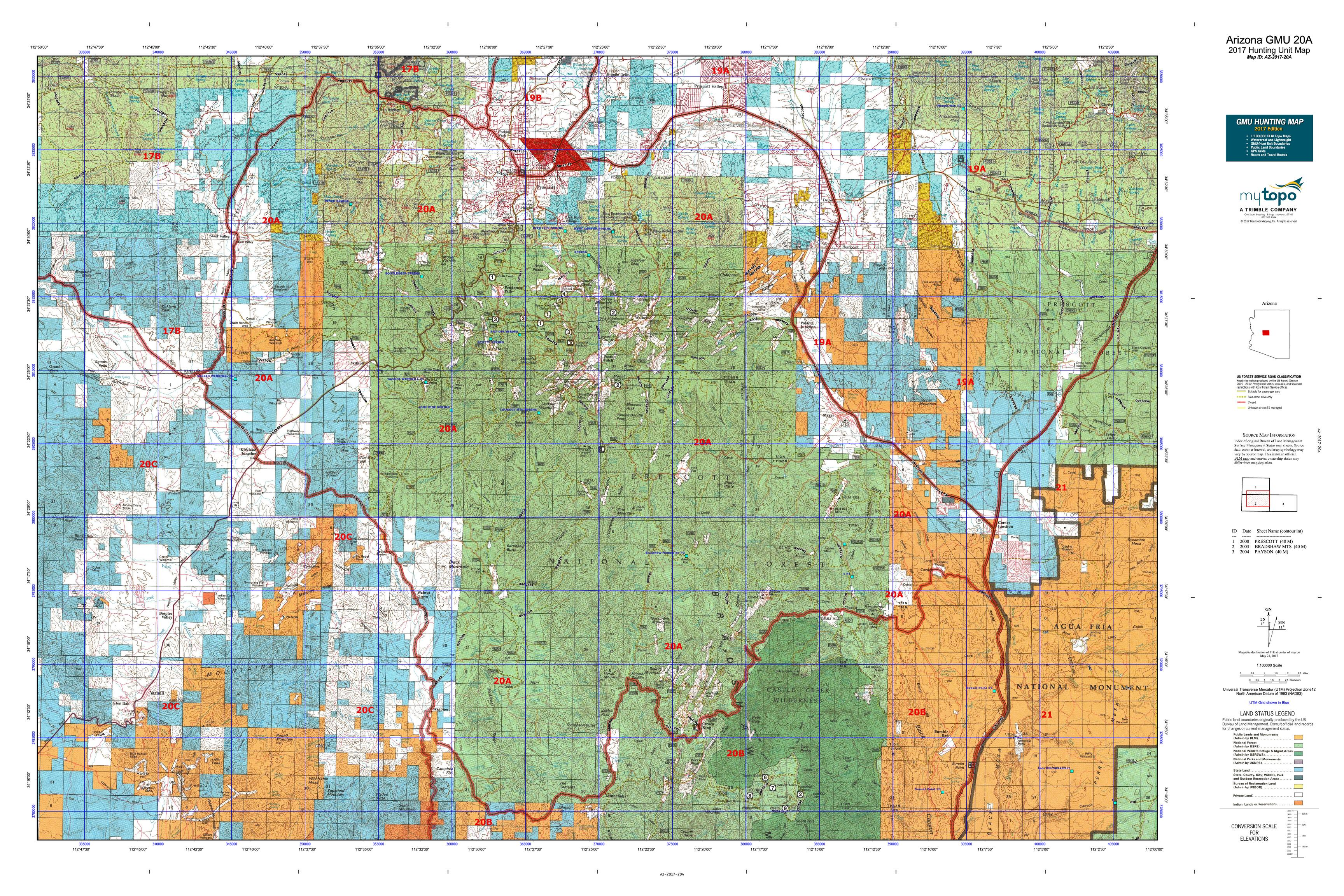 Arizona gmu 20a map mytopo for Arizona game and fish locations